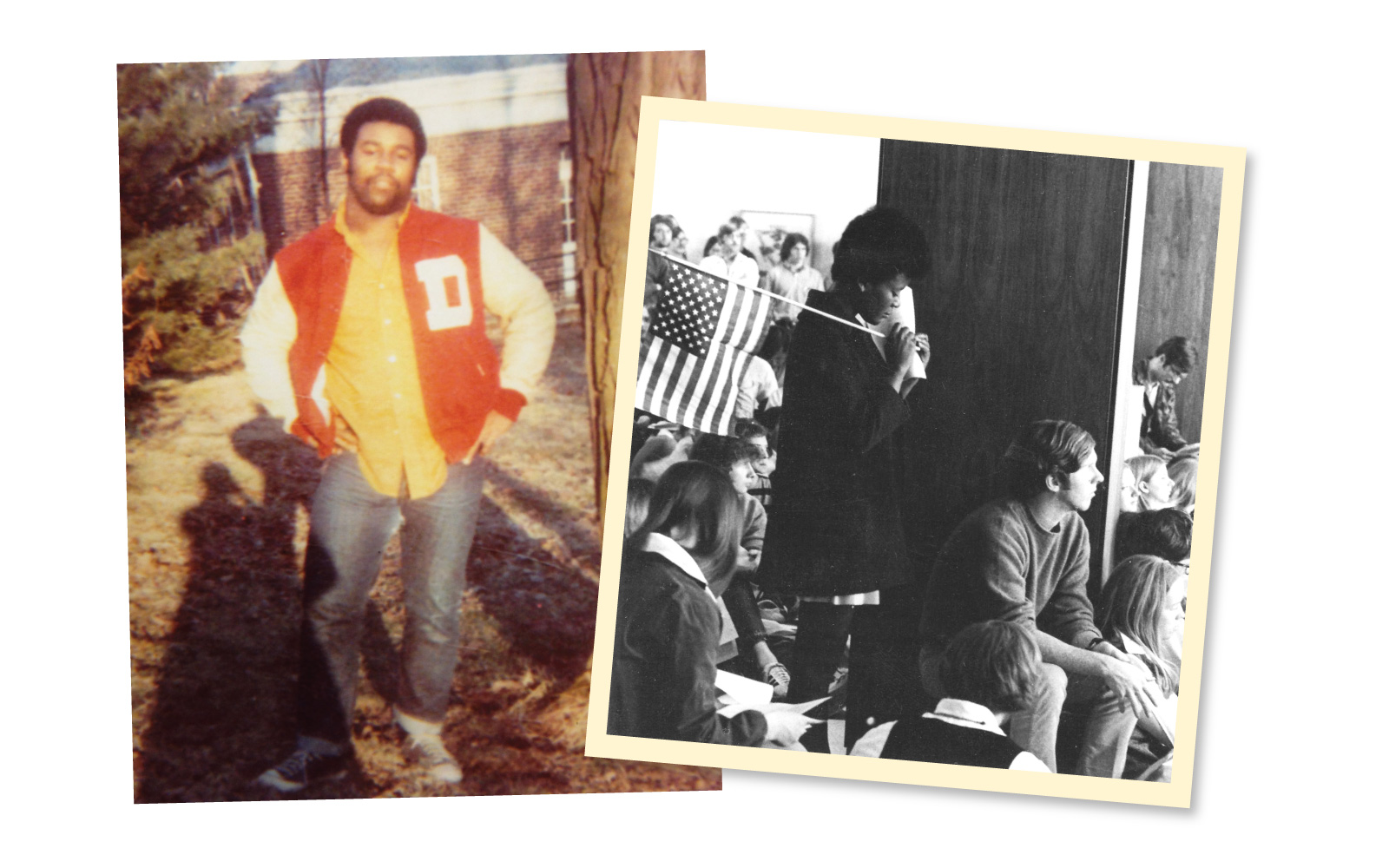 Henry Durand '70 (top, left), the only Black student on the football team in the 1971, was the first chief minister of the BSU. Students bring their concerns to the administration in 1969 (bottom, right).