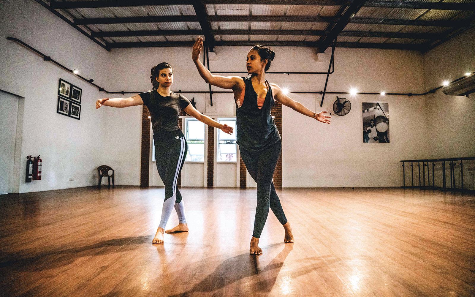 Umeshi Rajeendra works with a student at Mesh Academy in Sri Lanka. The dance school works with students on technique, but also pushes them to consider the ways dance can be used as commentary on social, economic, and political issues.