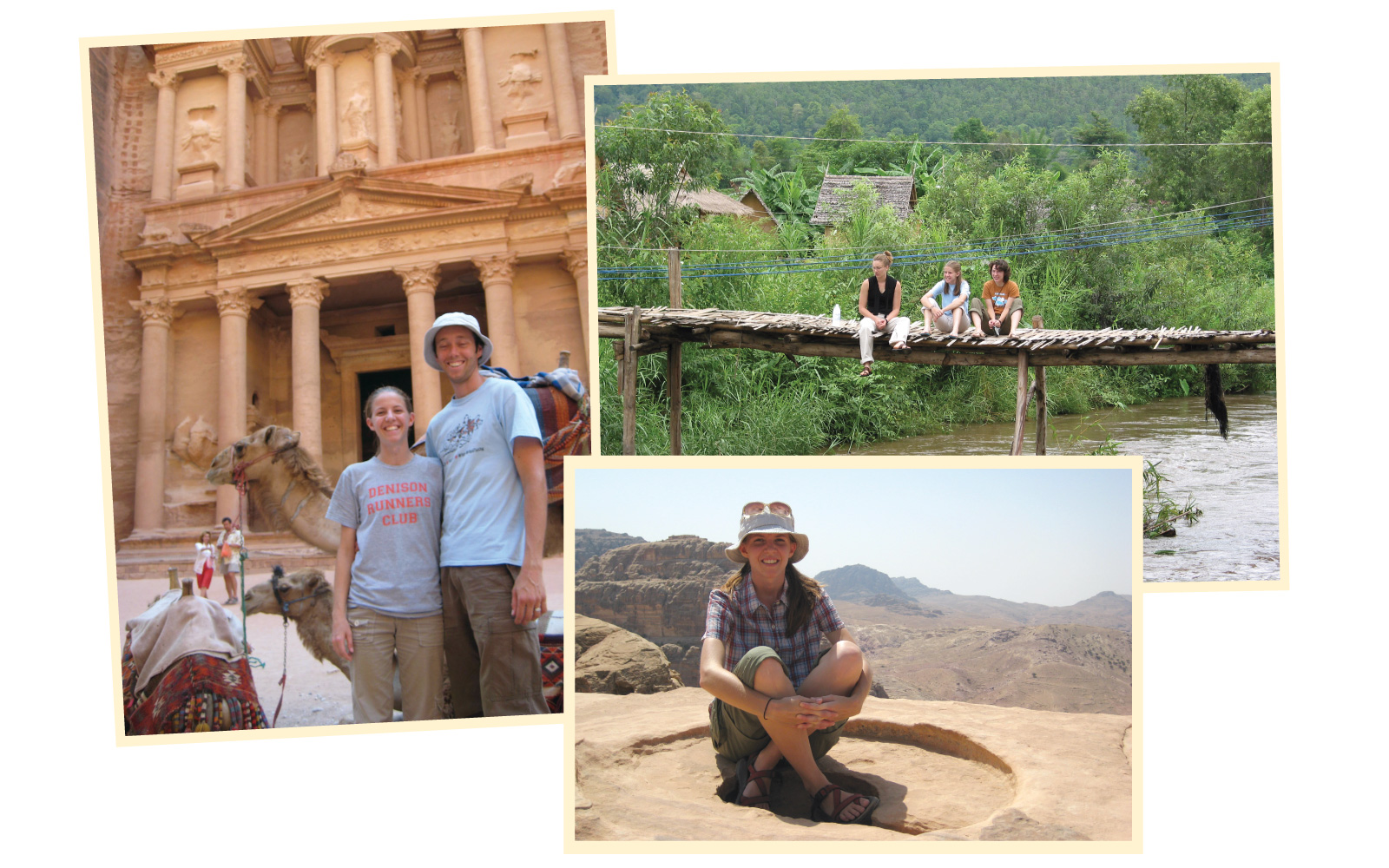 Mary Ann Bates' travels during her time at Denison and after graduation have influenced her work at J-PAL. Those travels included stops in Petra, Jordan (left, with her husband Matthew; and bottom right) and Thailand (top right).