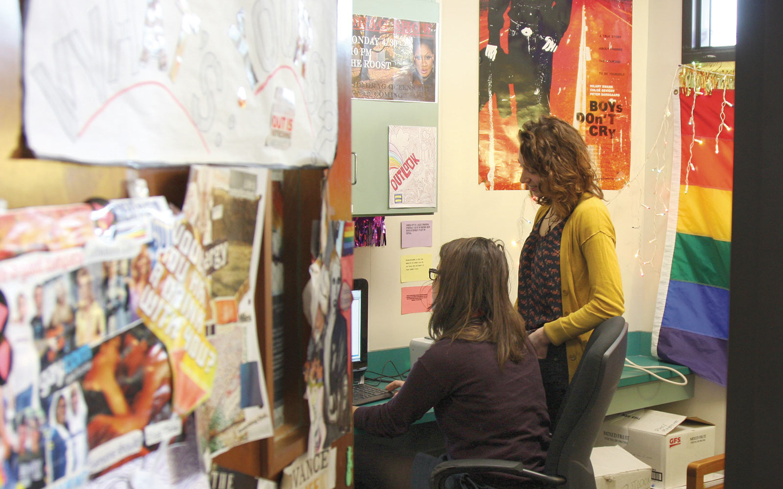 2013 - Caitlyn Battaglia '13 the current vice president of Outlook, and Taylor Klassman '13, the group's president, hang out in the Outlook office in Slayter. The office was given to the organization in 1995 by the Denison Campus Governance…