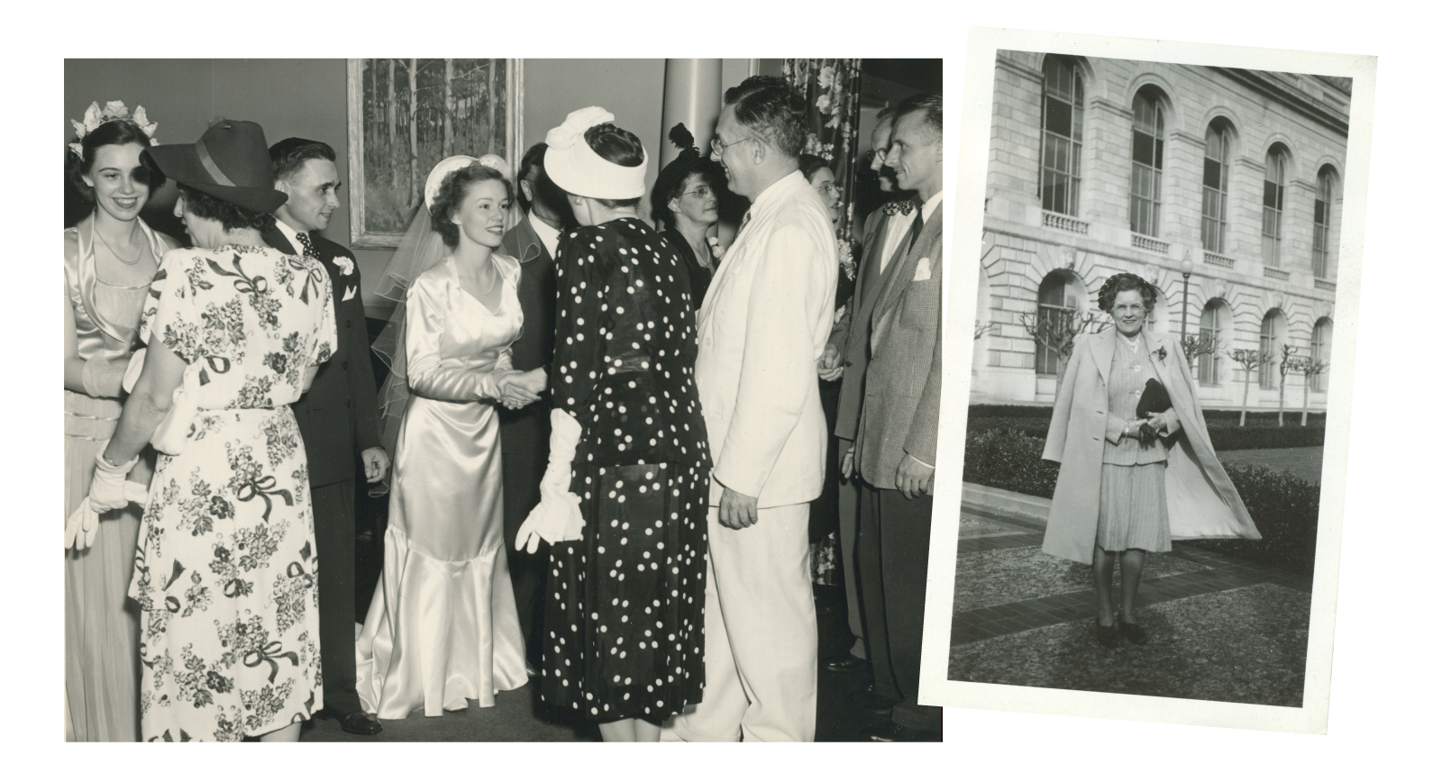 A Beautiful Life: Anne Rolt-Wheeler Skidmore married Merle Skidmore on July 25, 1949. Her sister Pat (pictured left) was a bridesmaid, and Denison President Kenneth Brown and his wife (greeting the bride) were guests. Ruth Hobart Rolt-Wheel…