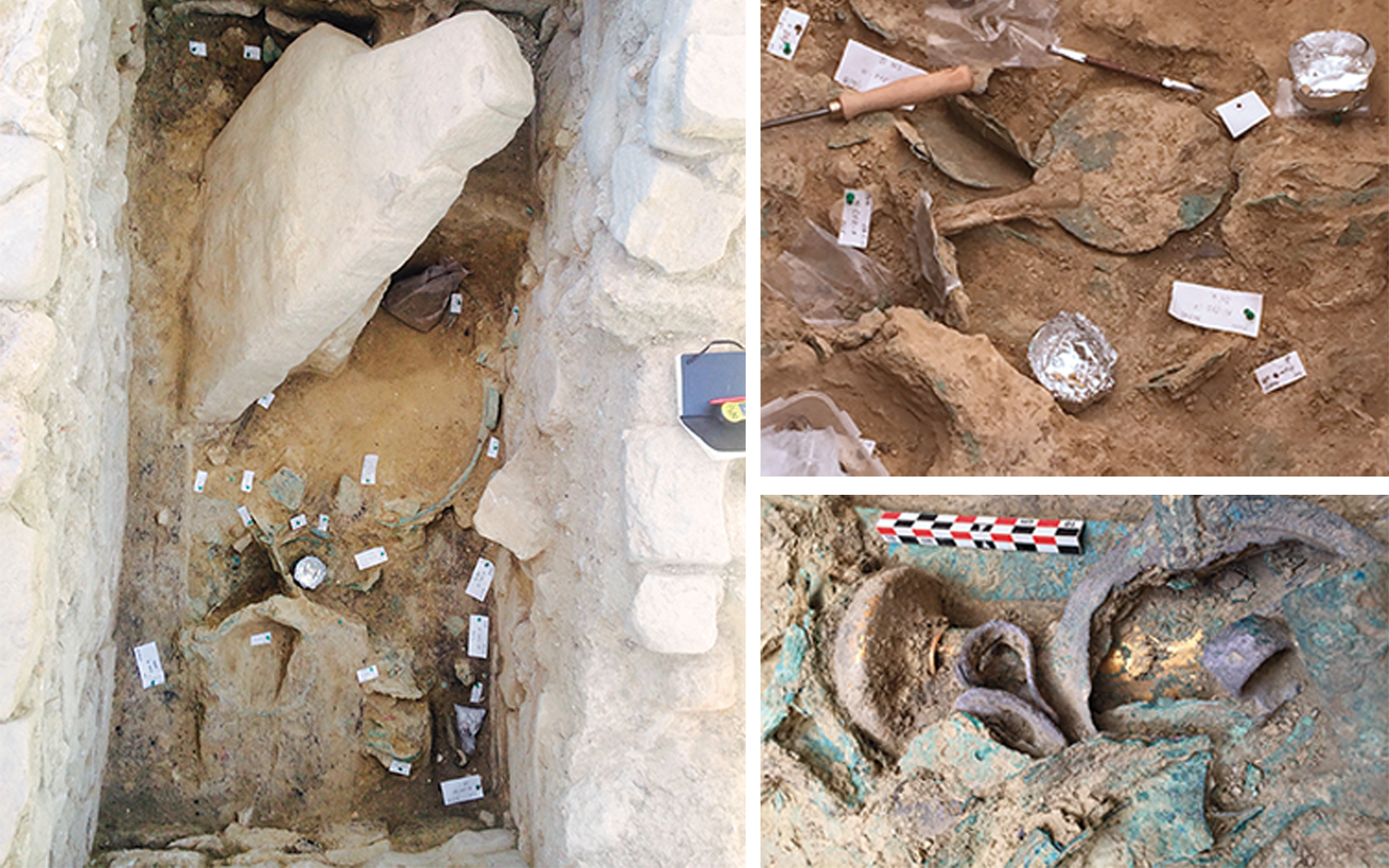 Items found in the Griffin Warrior tomb include a large spouted basin (left), a bronze mirror with an ivory handle (top) and a bronze sword with a gold hilt and pommel (below).