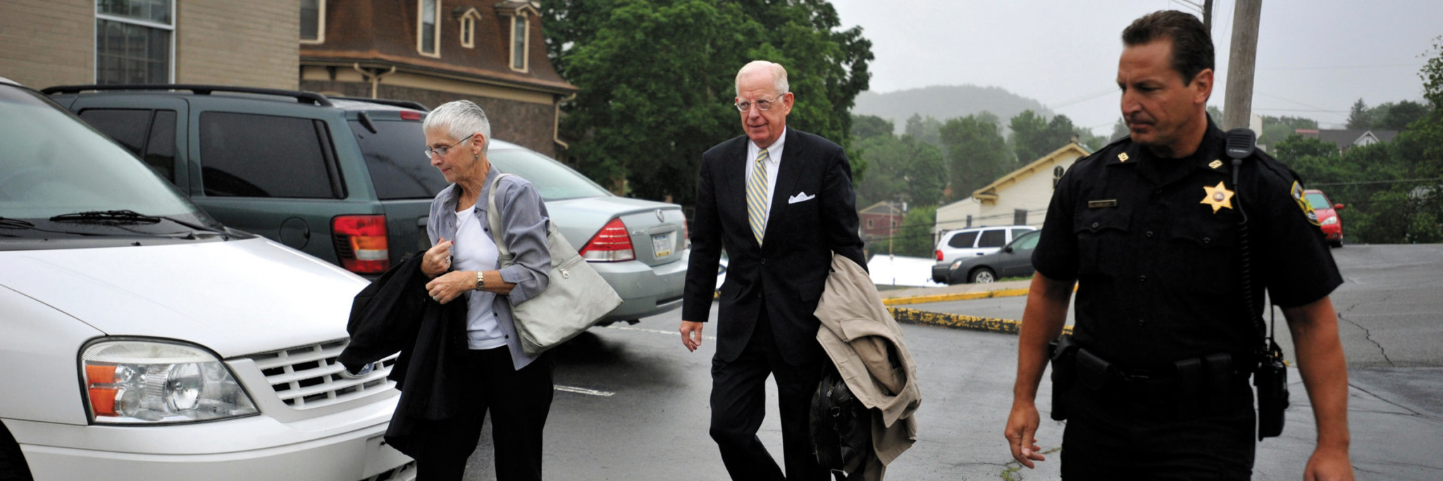Cleland arrives at the courthouse for the jury selection in the child sex abuse trial of the former Penn State Assistant Football Coach Jerry Sandusky.