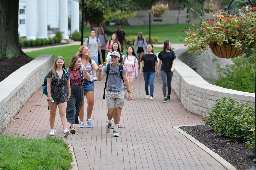 Students walking along Chapel Walk