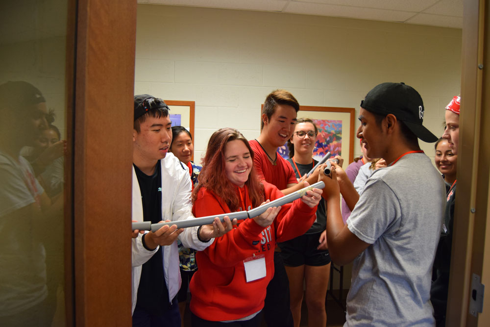 Students in a team building exercise