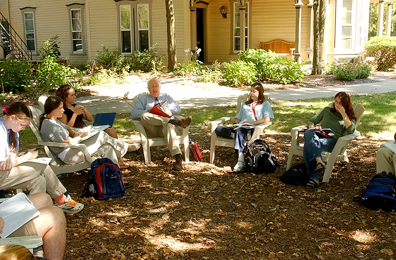 Lisska with honors students at Gilpatrick.