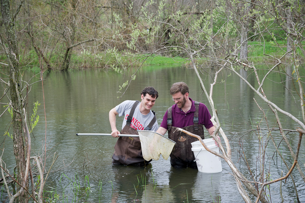 Student and professor investigating pond