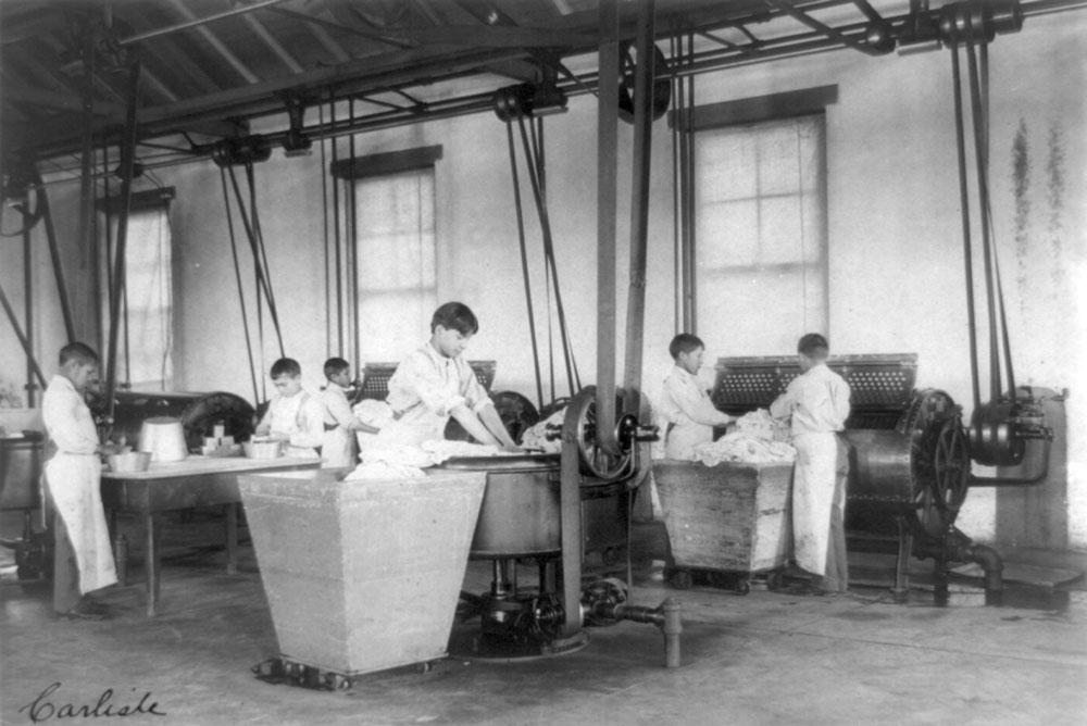 Frances Benjamin Johnston, six boys doing laundry