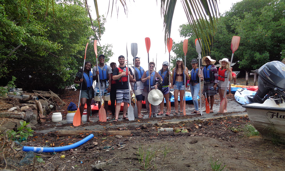 Group Photo of students kayaking