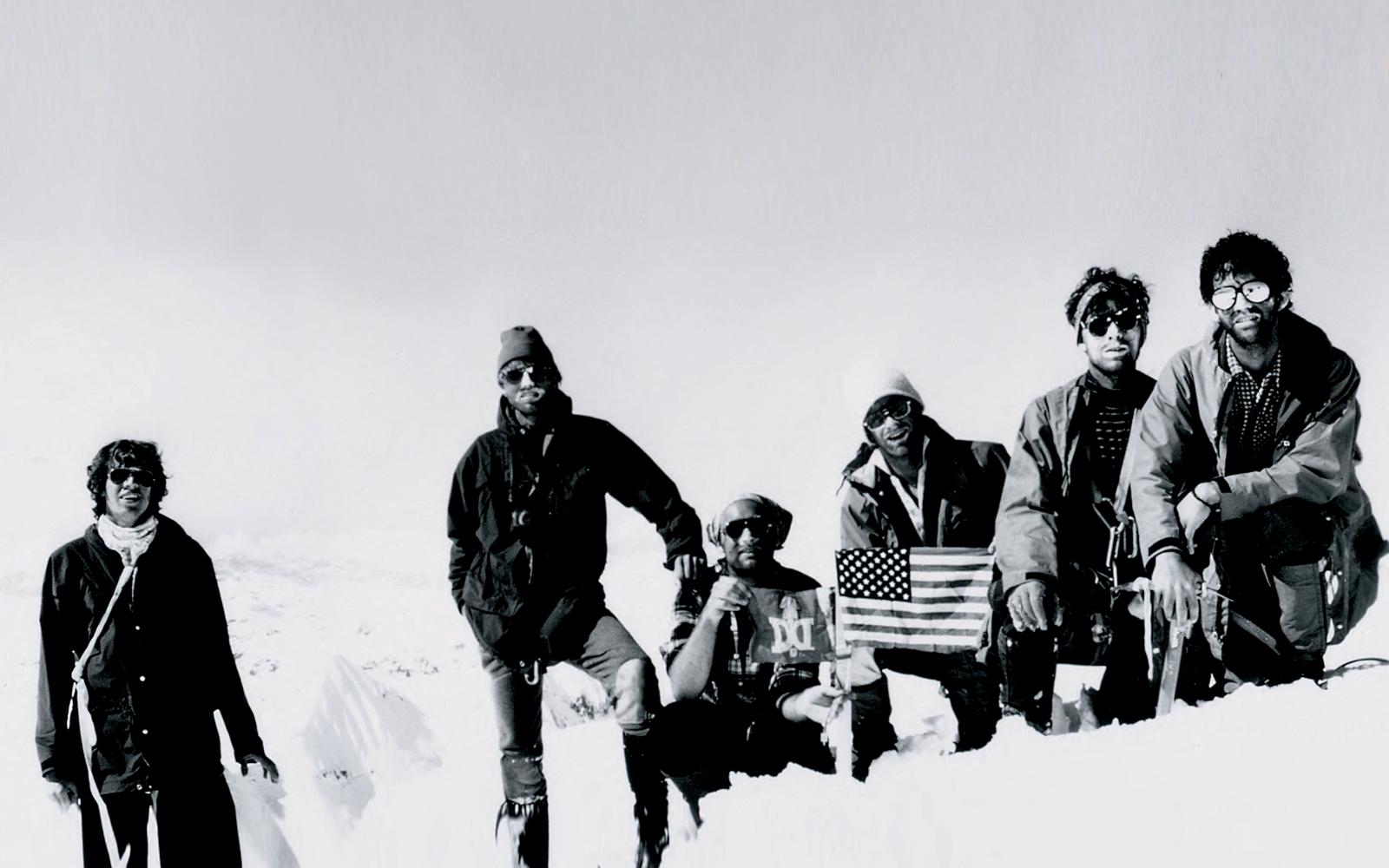 At the summit, finally, in May 1978 (l-r):   Fritz Kaeser '80, Bill Dennis, Espen Brooks '77, Richard Wiggin '70, John Faraci '72, and John Phillips '75.