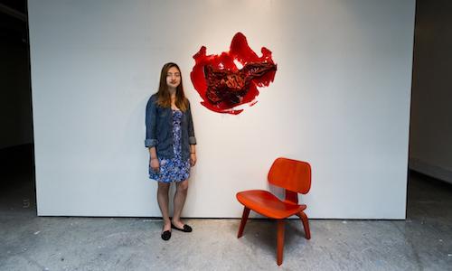 Nancy Martinez with artwork