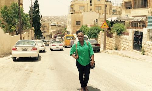 Keylee Jones walkging down street