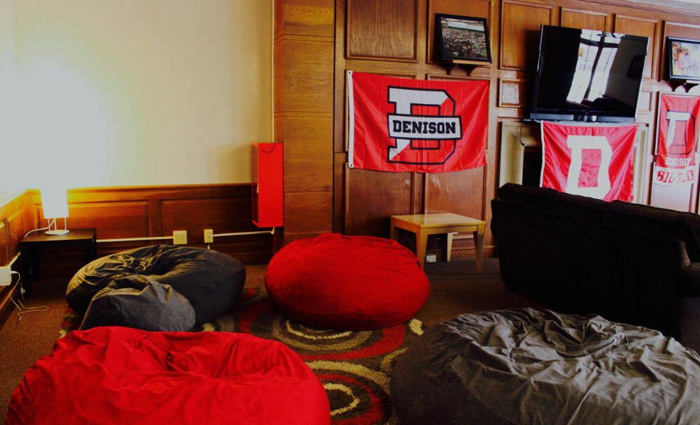 Curtis West Common Room tv and bean bags