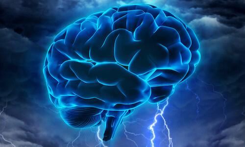 blue brain with lightning