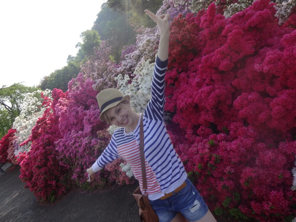Karen Maruyama in japan floral backround