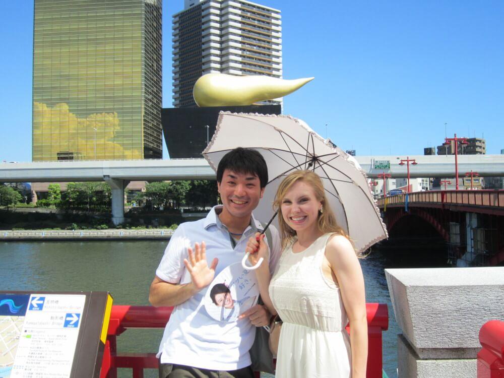 Karen Maruyama on a bridge in japan
