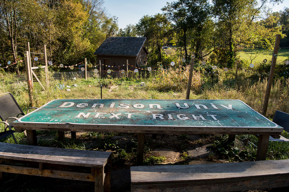 The Homestead's repurposed off-ramp sign table