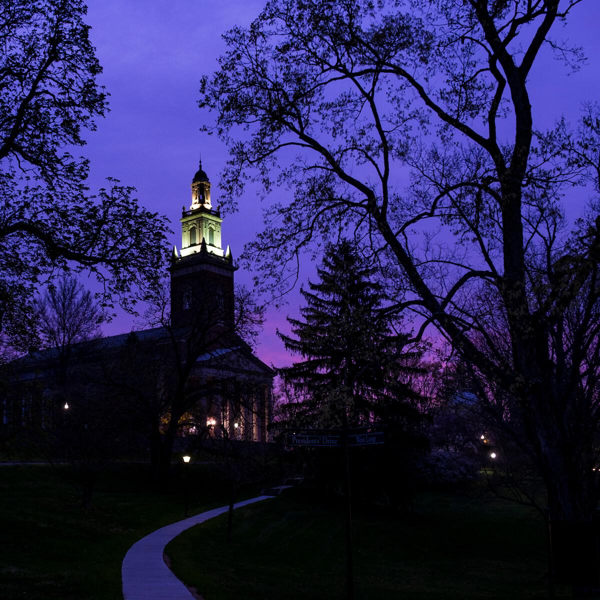 Swasey Chapel at dusk