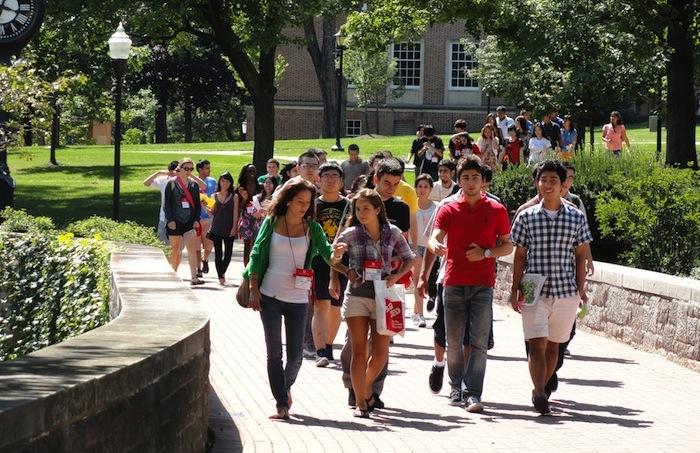 International students on chapel walk