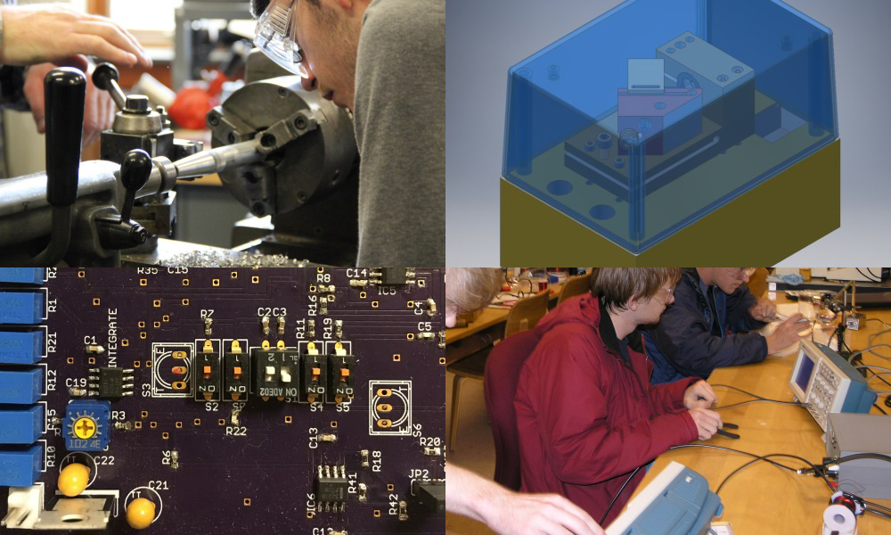 A collage of four images: top left and bottom right images have students in the lab; top right and bottom left images are of the inside of hardware