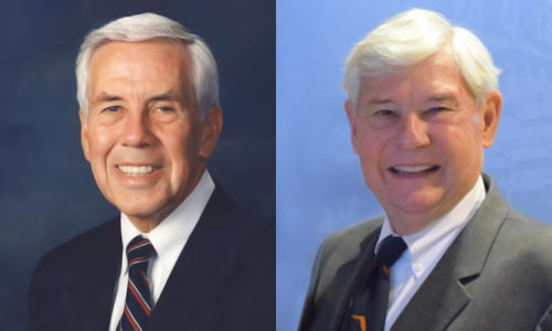 Side-by-side portrait photos of Richard Lugar and Robert Graham