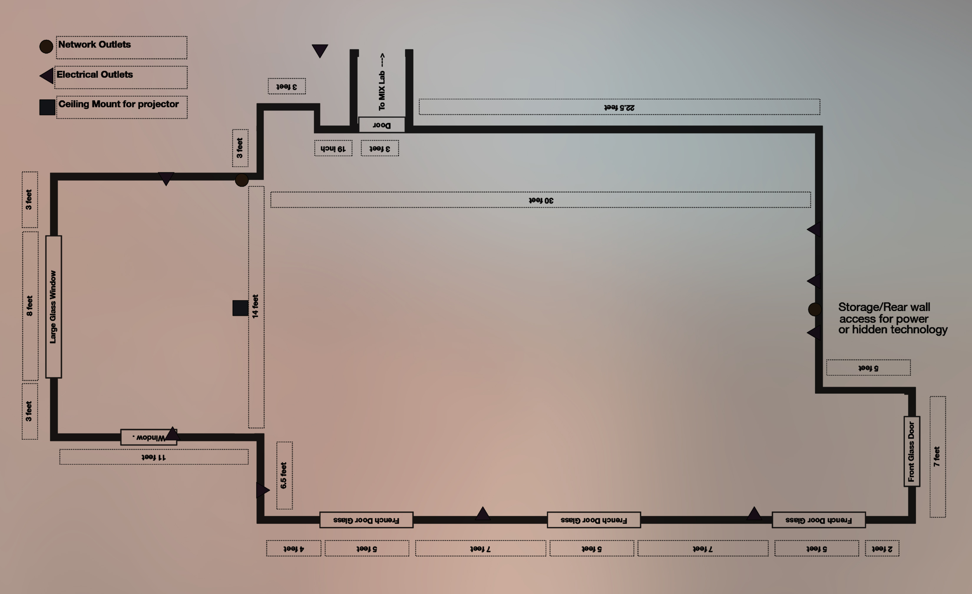 A detailed floor-plan and measurements of gallery space