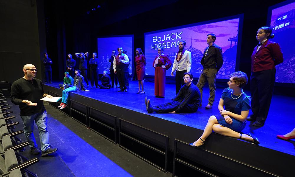 "Denison students on the stage of ""BoJack Horseman"""