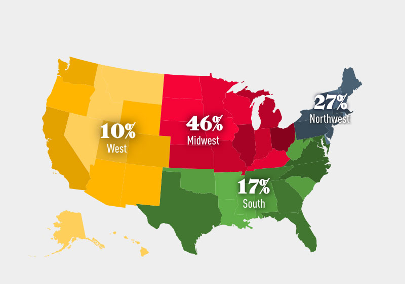 Students population by state (Class of 2024)