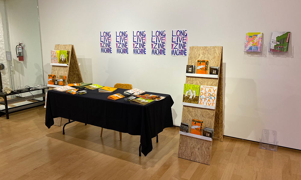 Untitled, risograph printed matter, table, shelves. Dimensions vary.