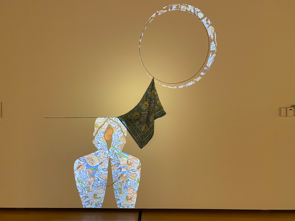 """Untitled, projection, india ink, fabric. 60"""" x 48"""". 2021."""