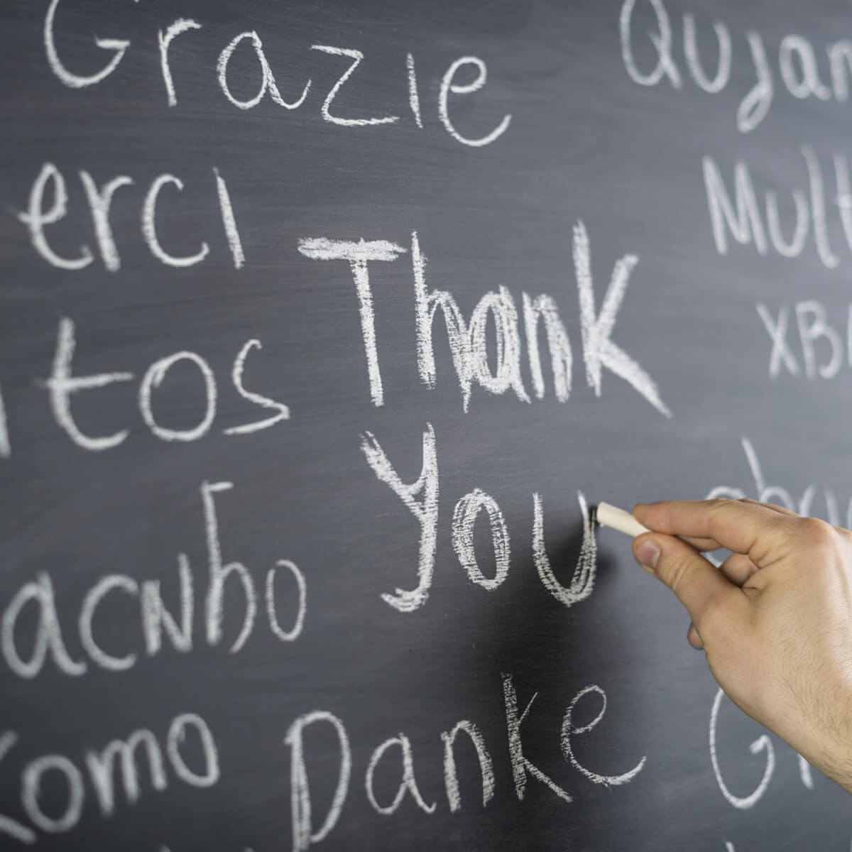 Chalkboard with different languages for the term thank you.