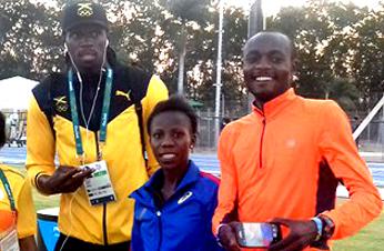 Dee, Beatrice Kamuchanga and Usain Bolt