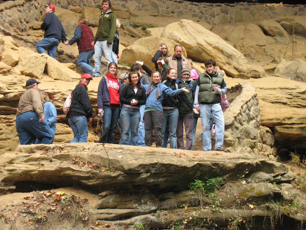 students on rocks