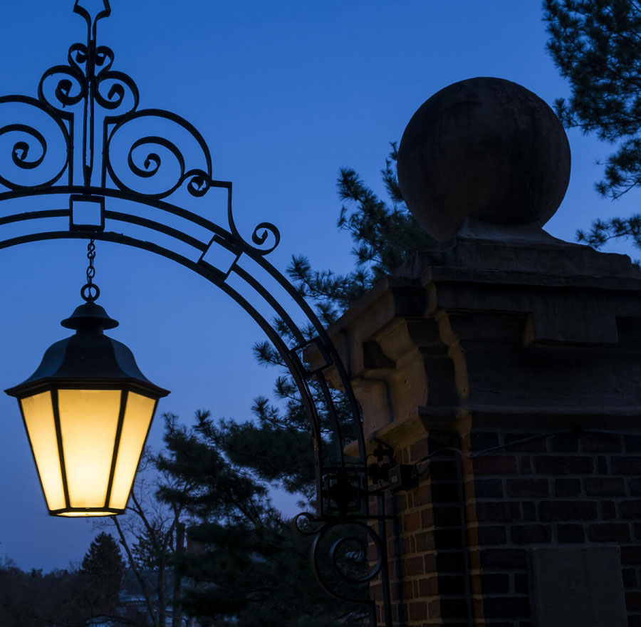 Street lamp on campus