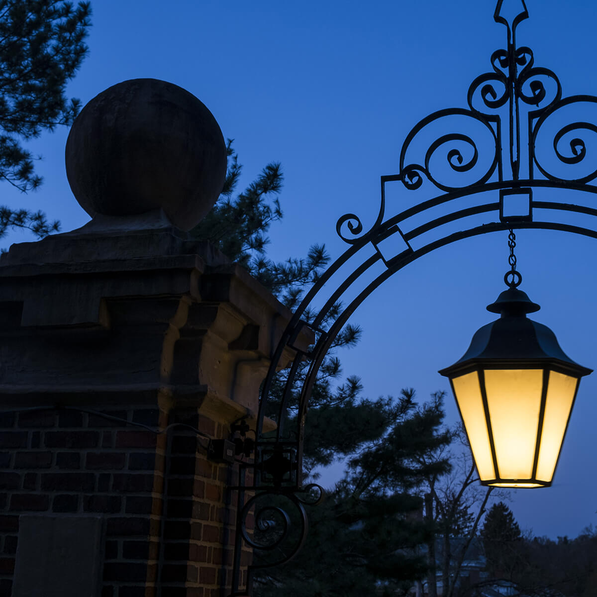 Dusk shot of a light on campus
