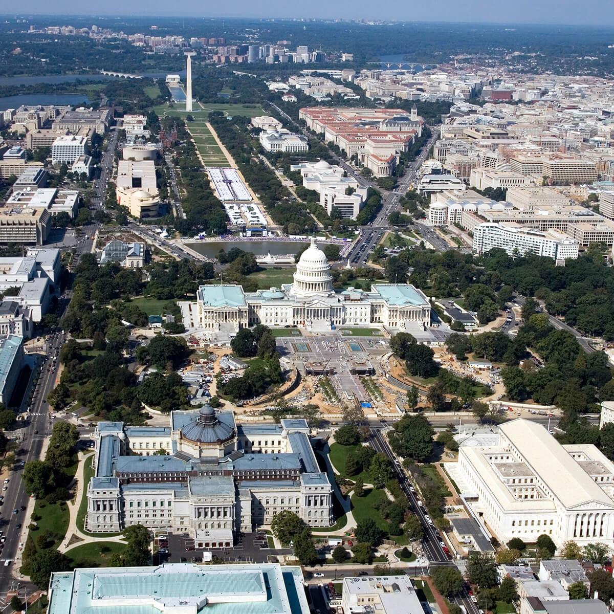 birds-eye view of DC