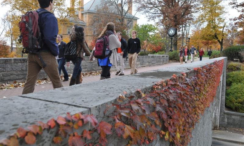 Students walking on chapel walk