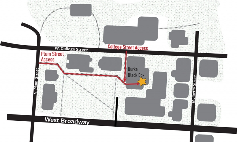 Map of Denison South Quad showing access to The black box theatre from West College Street and North Plum Street.