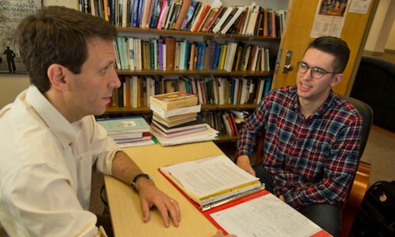 Denison student at desk