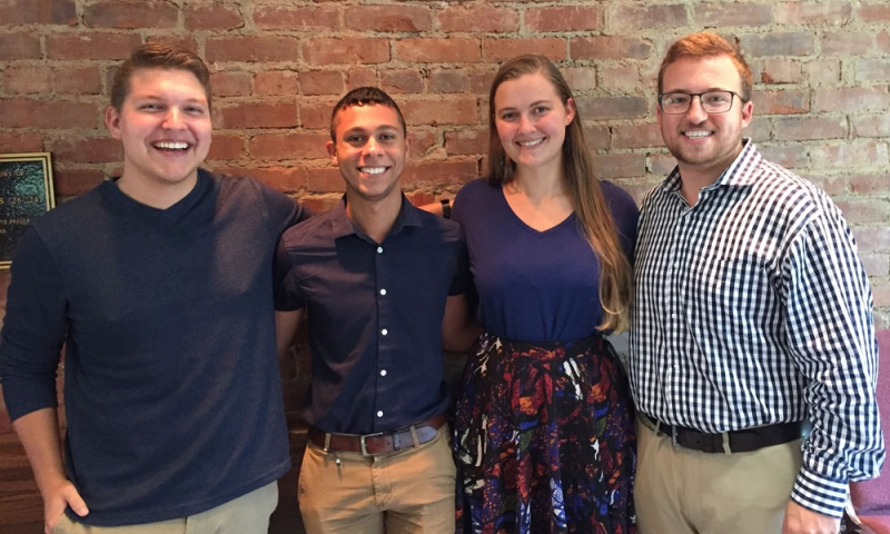Jonathyn Jannot, Jeremy Torres '18, Rose Troyer, and Doug Lisko