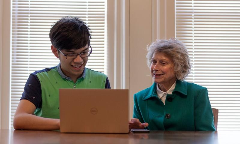 Sihan Cai '20 and Professor Emerita Joan Krone