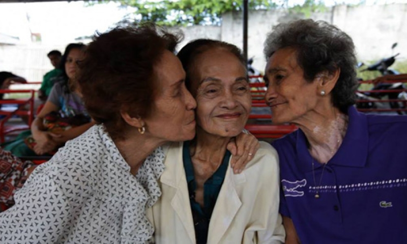 "Photo of three female senior citizens from a screening of the documentary ""The Apology,"" moderated by Wei-Ting Yen"