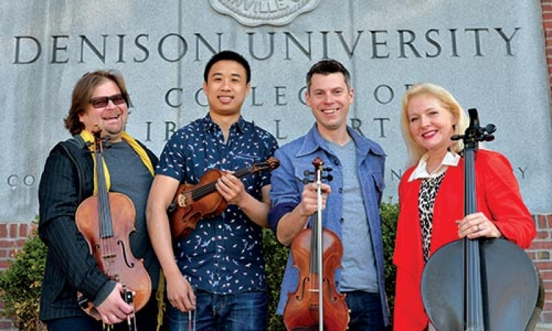 Photo of four people from ETHEL, Denison's ensemble-in-residence