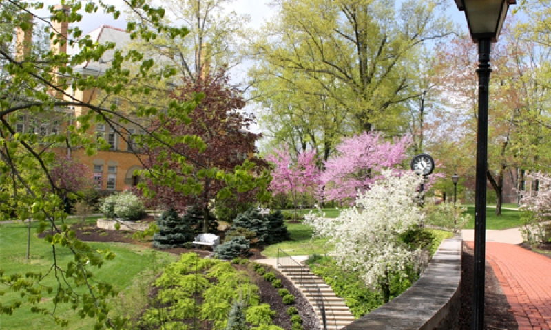 a photo of chapel walk in springtime