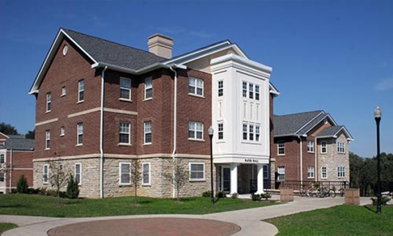 A photo of Hayes Hall in the spring