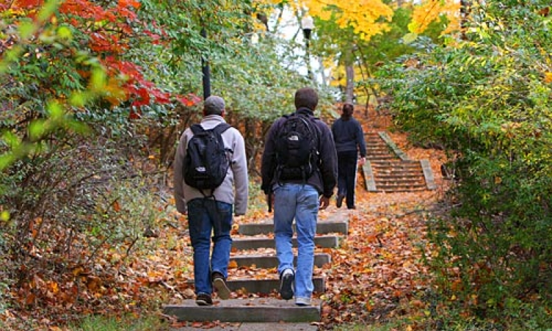 Students walking up the hill to class