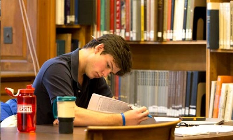 A student stdies in William Howard Doane Library