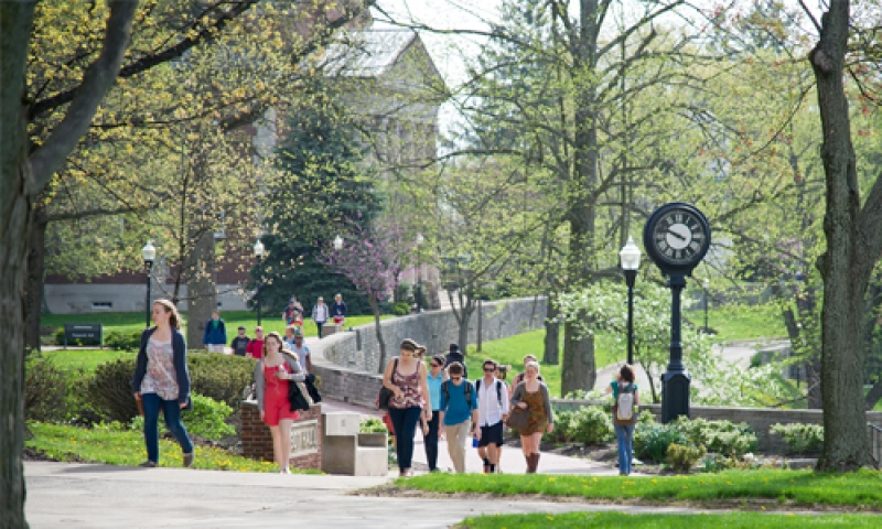 a picture of students on Chapel Walk in spring