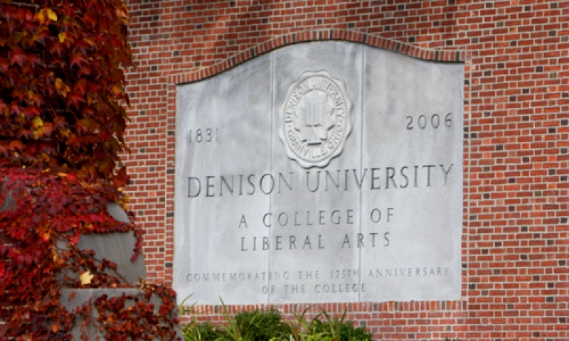 a photo of Denison's main entrance in fall