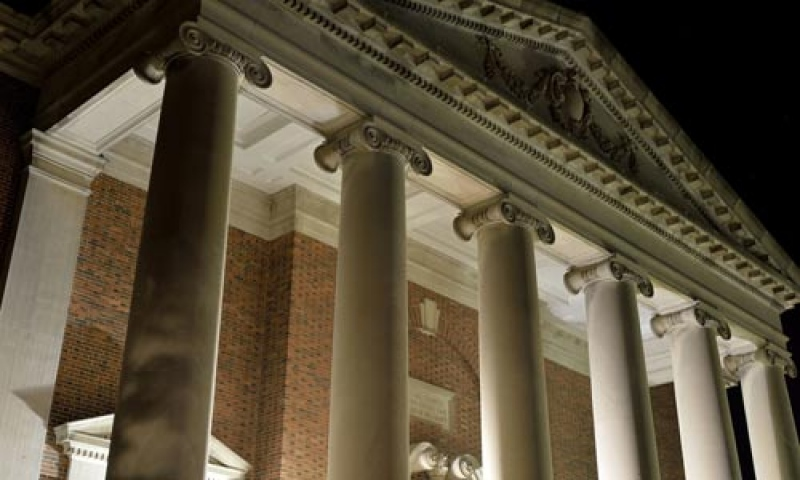 Swasey Chapel pediment at night
